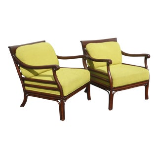 Vintage Palecek Mid-Century Bamboo Style Green Accent Chairs - A Pair