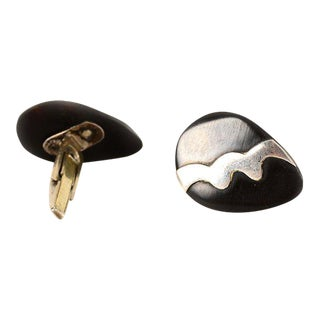 Mexican Modernist Silver & Onyx Taxco Sterling Cufflinks