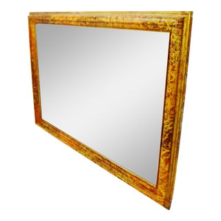 Vintage large mottled-paint effect framed mirror. Beautiful mottled-effect paint on wood frame.