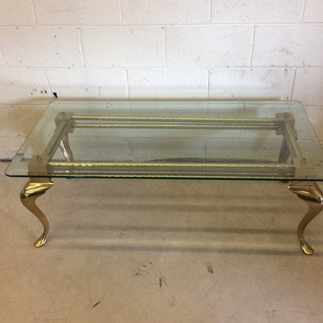 Brass & Glass Cabriolet Leg Coffee Table - Image 5 of 9