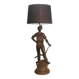 Large Figural Lamp of a Dutch Plowman