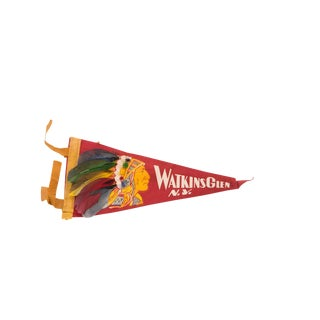 Red Watkins Glen NY Headdress Native American Felt Flag