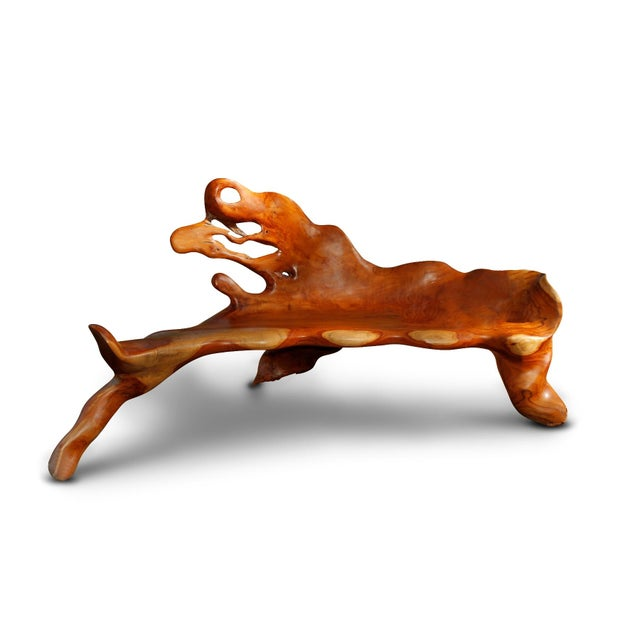 Image of Large Sculpted Tree Root Bench