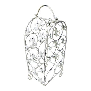 Wrought Iron Wine Rack with Fleur De Lis Detail