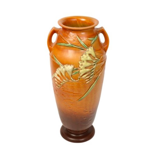 Image of Burnt Orange Floor Vase W/ Freesia