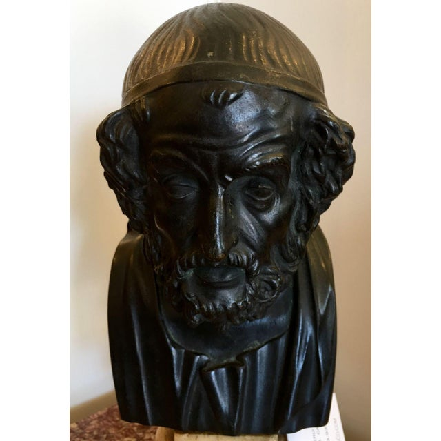 Antique Bronze Philosopher Bust - Image 4 of 5