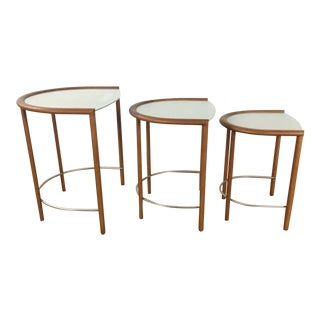 Modern Frosted Glass Nesting Tables - Set of 3
