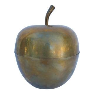 Vintage Solid Brass Decorative Apple Box / Vase .