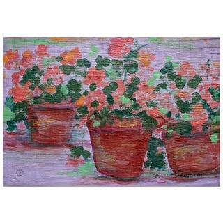 "Doris Sherwyn ""Three Flower Pots"" Painting"