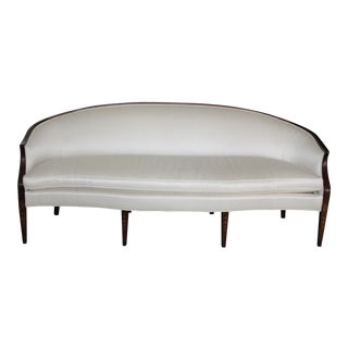 Henredon Rounded Back Cream Silk Sofa