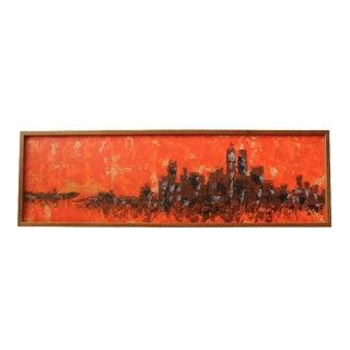 Mid-Century Orange Cityscape by Van Lowe