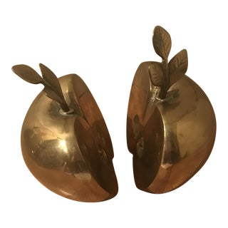 Vintage Brass Apple Bookends - A Pair