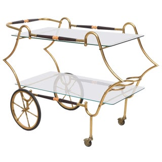 1950s Italian Brass and Glass Trolley Server