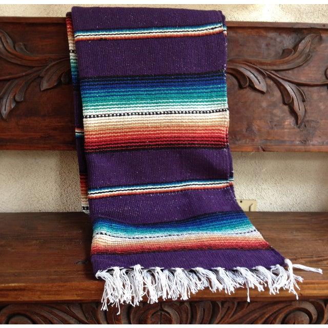 Purple Striped Serape-Style Throw - Image 7 of 8