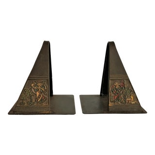 Enameled Iron Art Deco Bookends - A Pair