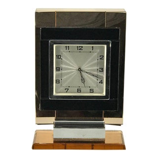 """French Art Deco Chrome and """"Coral"""" Mirrored Table Clock"""