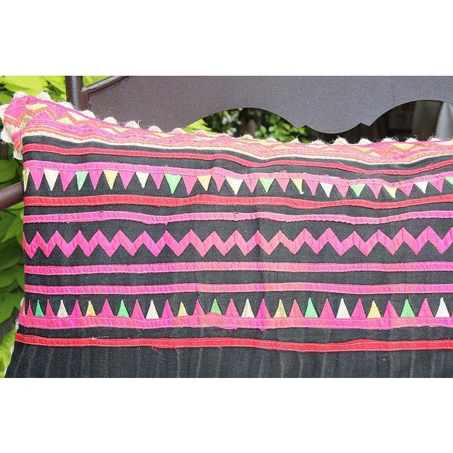"Vintage Hmong Applique Pillow Black & Pink - 22"" x 11"" - Image 3 of 4"