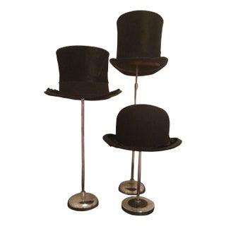 Gentleman's Top Hats on Vintage Stands - Set of 3