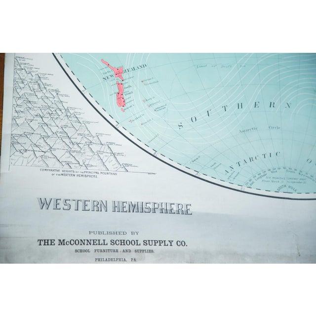 Image of Vintage Pull Down World Map of Western Hemisphere