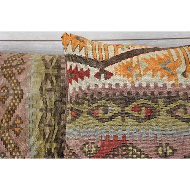 Turkish Tribal Hand-Knotted Vintage Kilim Cushion Cover - Pair - Image 3 of 5
