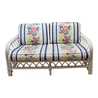 Vintage Mid-Century Ficks Reed Painted Rattan Loveseat