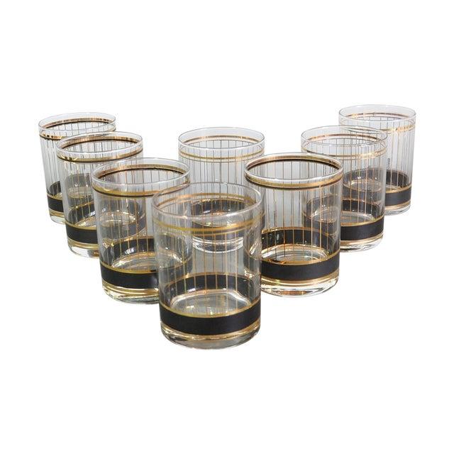 Image of Culver Black & Gold Rocks Glasses Set- Set of 8