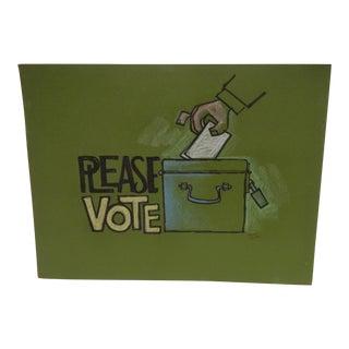 "Vintage ""Please Vote"" Pittsburgh Post Gazette Sketch"