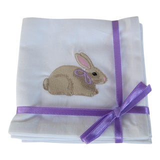 Embroidered Bunny Cocktail Napkins - Set of 4