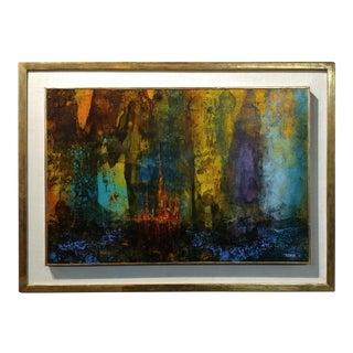 Leonardo Nierman - Idilic City -Beautiful 1961 Mid century Modern Abstract Oil painting