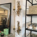 Image of Bronze and Crystal Sconces - A Pair