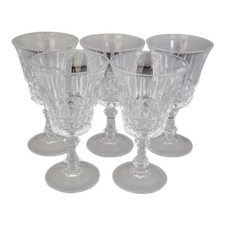 Vintage French Clear Crystal Sherry Glasses S/5