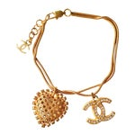 Image of Chanel Gold Crystal CC and Heart Dangle Braclet