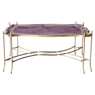 Faux Branch Brass Floral Top Coffee Table