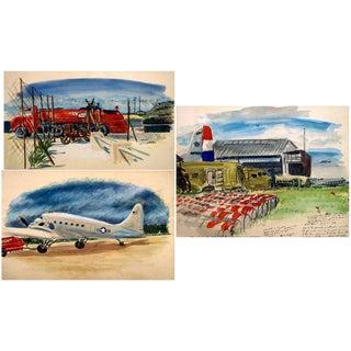 Framed World War II Watercolor Paintings - Set of 3