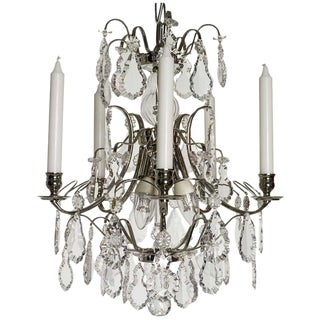Baroque Nickel 5 Arm Pendeloque Chandelier