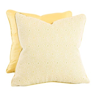 Diamond And Yellow Ribbed Silk Pillows - Pair