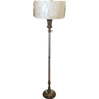 Vintage Silvered Bronze & Crystal Floor Lamp
