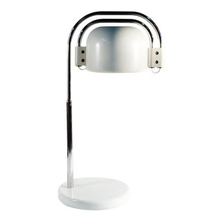 Mid-Century Modern White & Chrome Lamp