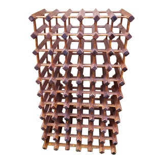 Mid-Century Rustic Wood Wine Rack
