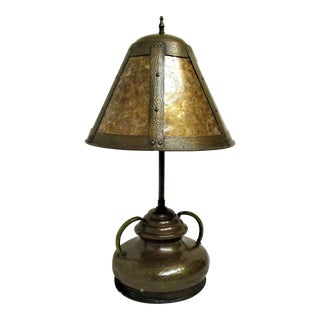 Hammered Copper Lamp & Mica Shade
