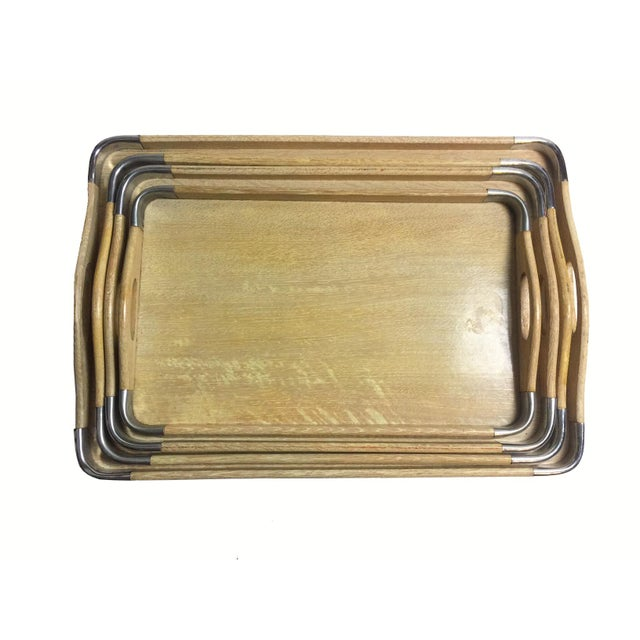 Image of Woodpecker Woodware Mid-Century 1950s Trays - Set of 4