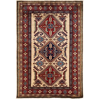 """New Kazak Hand Knotted Area Rug - 4'1"""" x 6'1"""""""