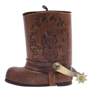 Genuine Leather Cowboy Boot Cigar / Tobacco Canister