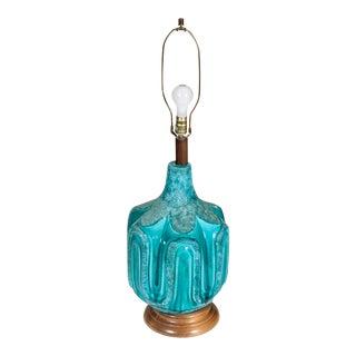1970s Turquoise Ceramic Lamp
