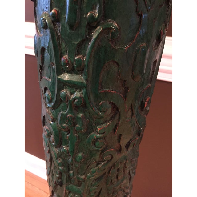Monumental Table Lamp with Carved Detail - Image 6 of 8