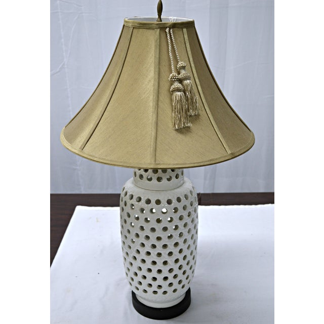 Mid-Century White Perforated Porcelain Table Lamp - Image 5 of 9