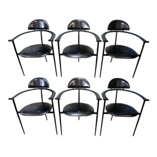 1950s Vintage Arrben Stiletto Black Leather Dining Chairs - Set of 6