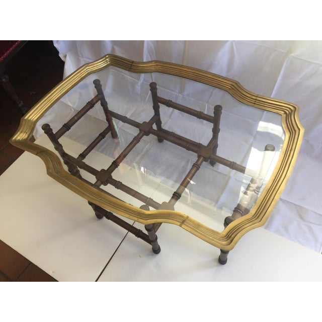 Brass Faux Bamboo Coffee Table: Vintage Brass Tray Coffee Table Faux Bamboo Base