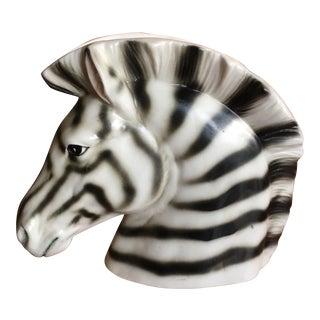 Vintage Matte Zebra Head Vase