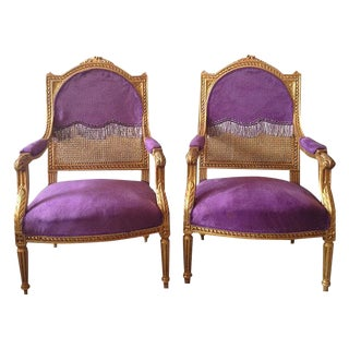 Antique Louis XVI Purple Chairs - A Pair